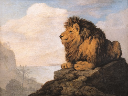 George Stubbs (1724-1806). A Lion seated on a Rock 1775. Enamel on ceramic 23.3 x 31 cm. © The Schorr Collection