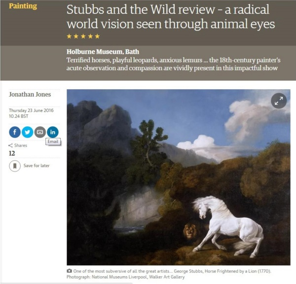 Stubbs and the Wild Review from Jonathan Jones, Guardian June 16