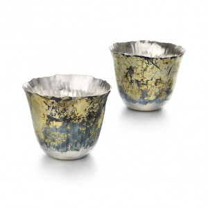 Malcolm Appleby & Jane Short - Beakers, Tetonic Beaker, 2014. Britannia Silver, emanel, 7X8.9cm. Collection: The Worshipful Company of Goldsmiths