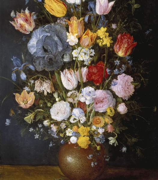 Jan Brueghel the Elder, A Stoneware Vase of Flowers, c. 1607–1608, oil on panel, 56 × 89.5 cm, PD.20–1975, The Fitzwilliam Museum, Cambridge