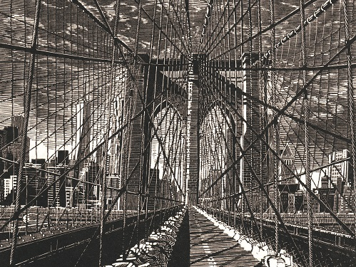 Anne Desmet Brooklyn Bridge New Day 2015. Wood engraving on Gampi Vellum Paper (c) The Artist