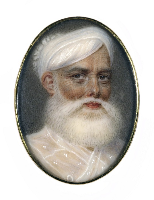 Muhammad Ali Khan Wallajah, Nawab of Arcot and Prince of the Carnatic (1717- 1795) John Smart (1740-1811).Watercolour on ivory, mounted in a gold ring, in a red leather case, 1795. Signed and dated: JS 1795. On loan from a Private Collection