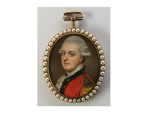 John Smart (1741-1811). An Officer Watercolour on ivory, 1776. Lent by Nicholas and Richard Falk