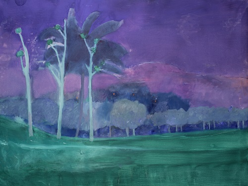 Anthony Fry, Mango and Rice Paddies, Thirunelli, 1991, oil on canvas, 106 x 132 cm, © Private Collection / Permission kindly granted by the estate of Anthony Fry / Browse & Darby Ltd