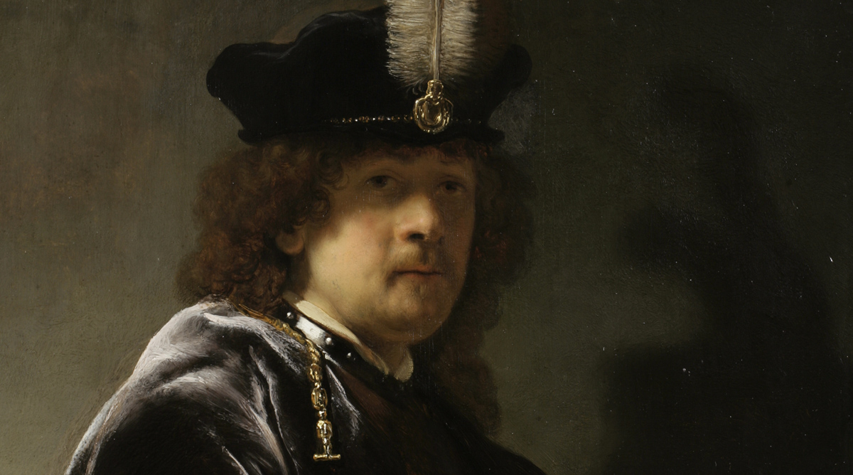Self-Portrait Wearing A White Feathered Bonnet, Rembrandt van Rijn ©National Trust Images - Chris Titmus