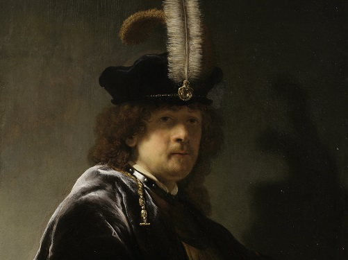 SELF PORTRAIT WEARING A WHITE FEATHERED BONNET by Rembrandt van Rijn.