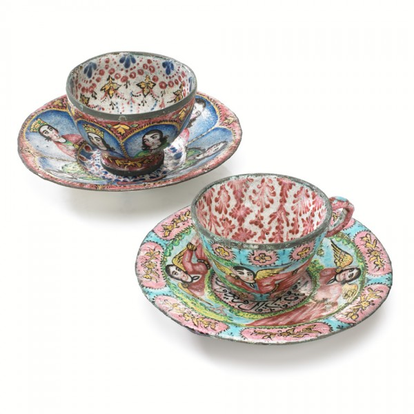 Miniature teacup and saucer, enamel on copper. Iran, 19th century. Given by Miss E.G. Tanner in 1928.