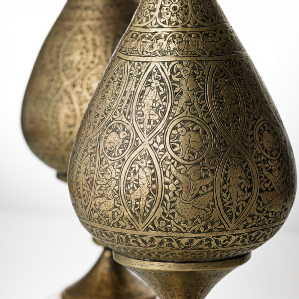 Vases, pierced and chased brass, Iran (probably Isfahan), 19th century. F66C & F66D. Given by Miss E.G. Tanner in 1926.