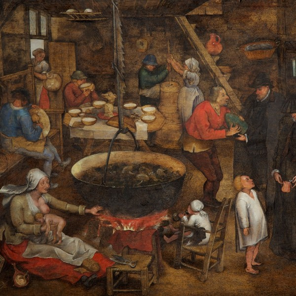 Pieter Brueghel the Younger, Visit to a Farmhouse, c. 1620–30, oil on panel, 36.5 × 49.4 cm, A46, ©The Holburne Museum. Photography by Dan Brown