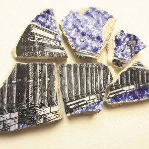 Anne Desmet, Six City Shards, 2016. Wood engraved prints collaged on blue pottery shards © Anne Desmet RA