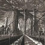 Anne Desmet Brooklyn Bridge New Day 2015. Wood engraving on Gampi Vellum Paper (c) The Artist