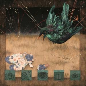 Barbara Heller, 'Ozymandias', linen warp, hand-dyed commercial and hand-spun wool, cotton, and miscellaneous fibres, bones, 158cm x 168cm © Barbara Heller