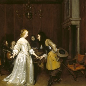 An Officer making his Bow to a Lady, Gerard ter Borch, Polesden Lacey, Surrey ©National Trust Images/John Hammond