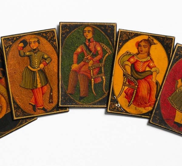 As-Nas playing cards, lacquer, Iran, 19th century. F84. Given by Miss E.G. Tanner in 1927.