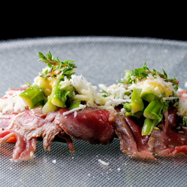 Beef and asparagus on a plate