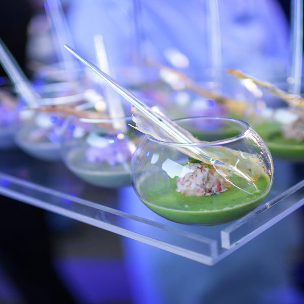 Wild Garlic and Crab presented in small glass containers