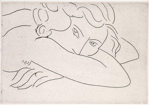 HENRI MATISSE (1869-1954). Jeune Femme le Visage enfoui dans les Bras, etching, 1929, on Chine collé, Artwork © Succession H. Matisse/ DACS 2019