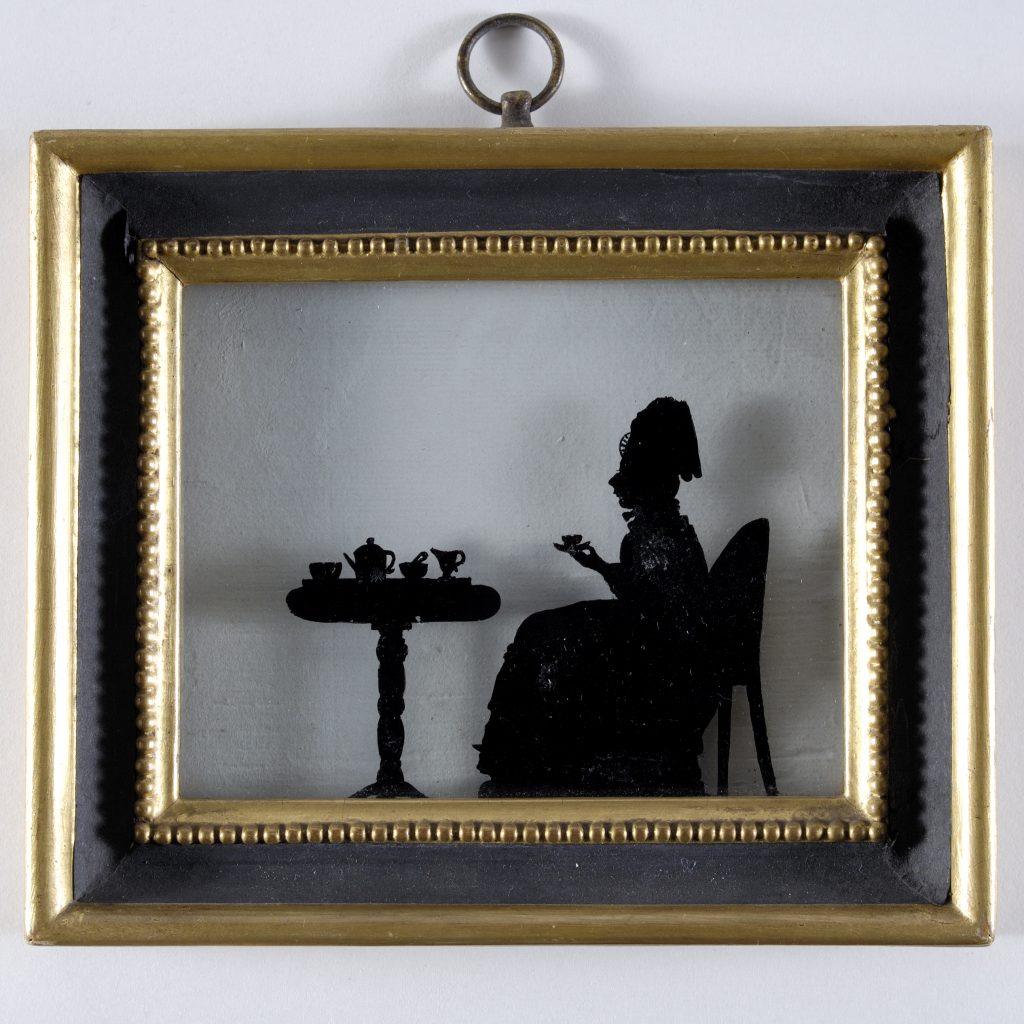 Silhouette Lady Taking Tea