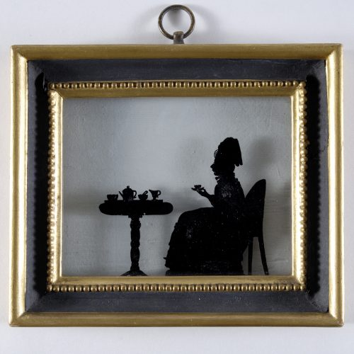 Silhouette Lady Taking Tea