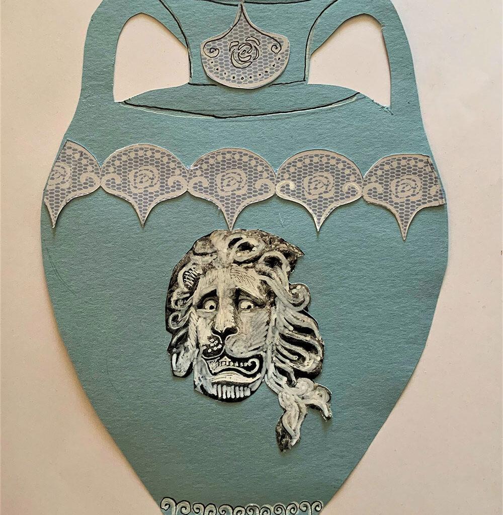 Blue and white Wedgwood style vase collage