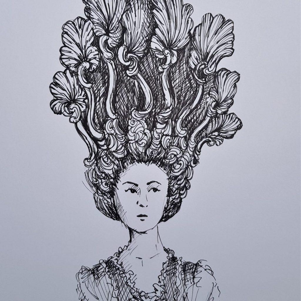 Pen and Ink elaborate wig design