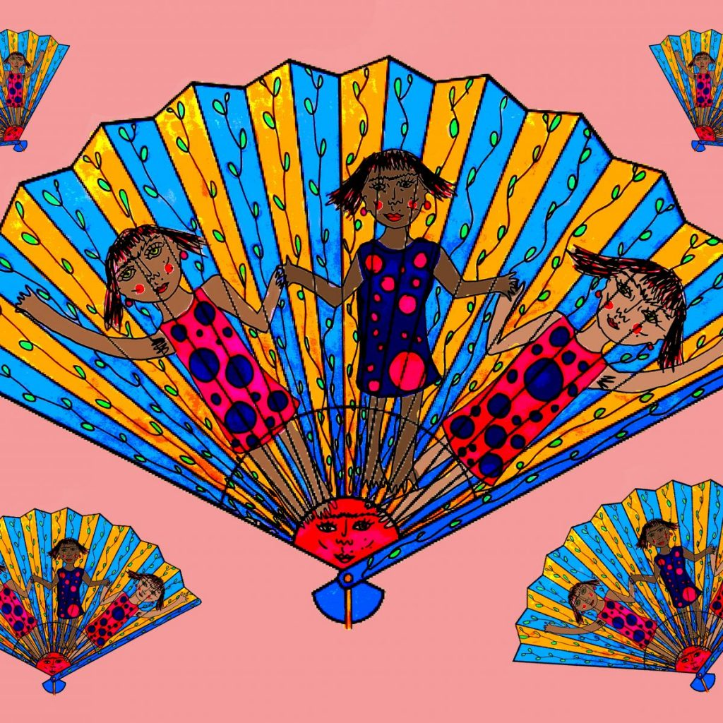 Blue and Yellow fan design with people holding hands and dancing illustrated on it. Inspired by fans in the Holburne Museum Collection