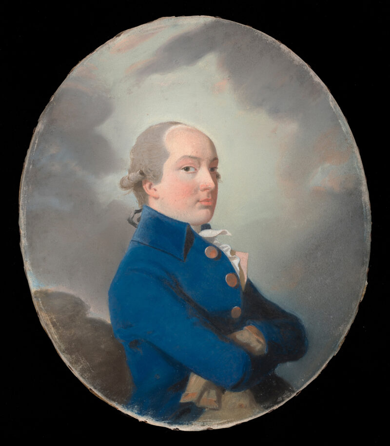 """George Isted. Lawrence, Thomas (British, 1769-1830). Pastel on paper, 323 x 272 mm, c. 1786. Batchelor's notes: 'Garlick in the Burlington, """"Works on Sir Thomas Lawrence"""" 'Lieut Col. H.G. Sotheby has lent four portraits of members of the Isted family of Eaton Hall, dating from 1784 and 1788, which show how, instinctively, he conceived portraiture in terms of oil painting. He produces with chalk effects a strong contrasting colour and chiaroscuro of a very different kind from the delicate lines and tints of Downman and John Russell"""". 'Lawrence's Portraits in Pastel', The Times, 6/7/1957, with an illustration of his portrait of Elizabeth Carter (which was engraved in stipple by Caroline Watson). Acquisition Credit: Sir Ivor and Lady Batchelor Bequest."""