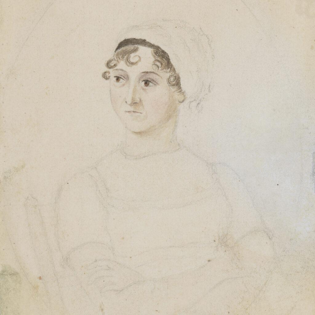 Jane Austen, by Cassandra Austen, circa 1810 © National Portrait Gallery, London