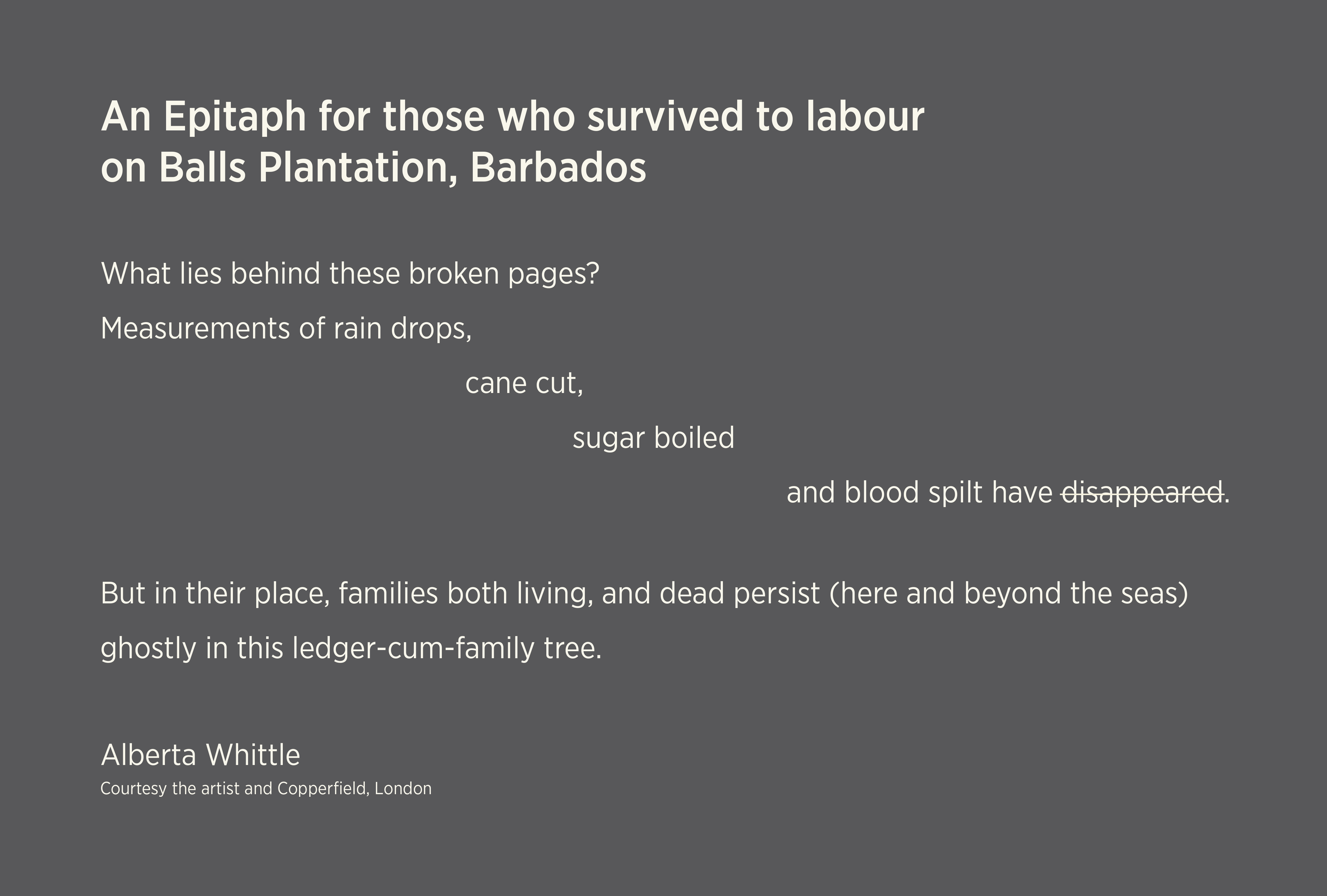 An Epitaph for those who survived to labour on Balls Plantation, Barbados. What lies behind these broken pages? Measurements of rain drops, cain cut, sugar boiled and blood spit have disappeared. But in their place, families both living, and dead persist (here any beyond the seas) ghostly in this ledger-cum family tree. Alberta Whittle